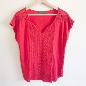 🌈 89th & Madison Red Crochet Knit Blouse Large L